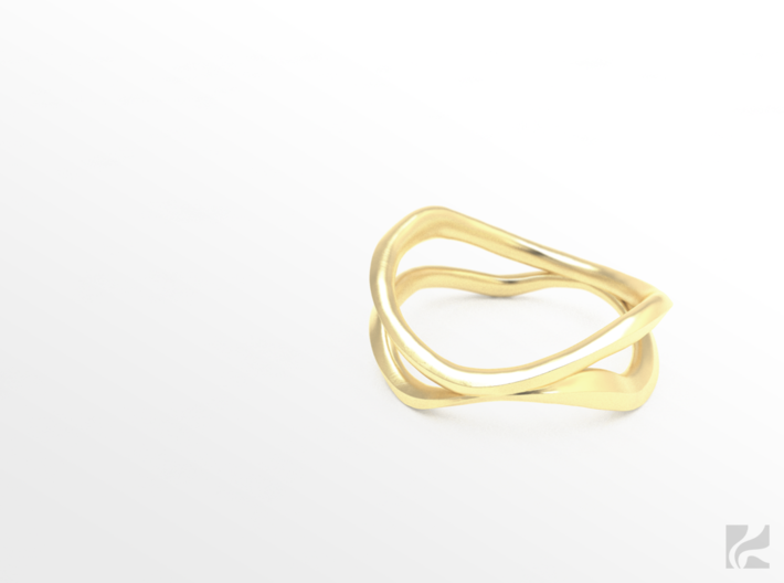 Dual Ring 3d printed Gold