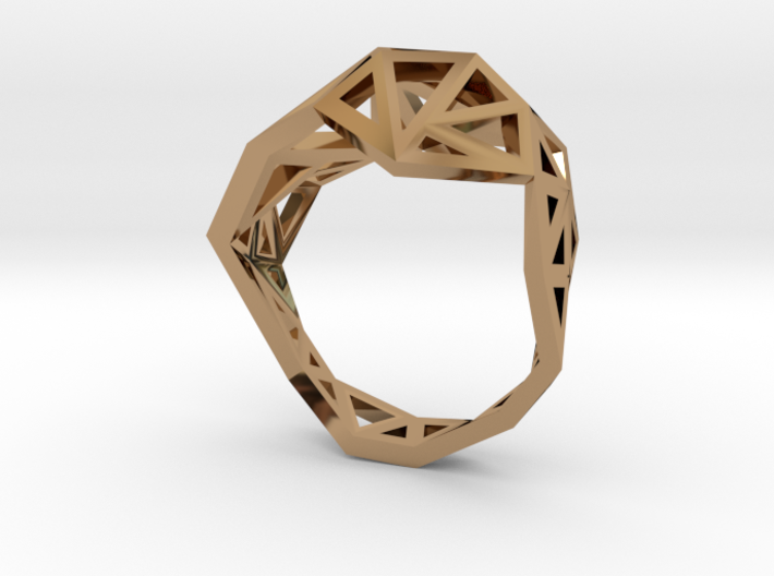 Brass Slim Triangulated Ring 3d printed