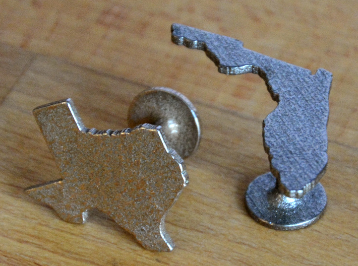 Cufflinks - Choose Any State (Texas) 3d printed Stainless Steel and Polished Nickel Steel