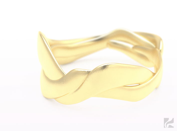 Smooth Weave Ring 3d printed Gold