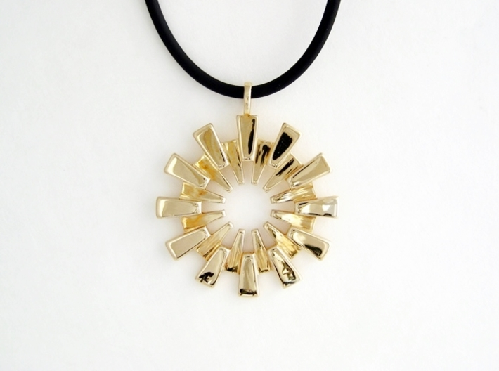 Sun Burst Pendant - Printed Sun in Fine Metals 3d printed Polished Brass