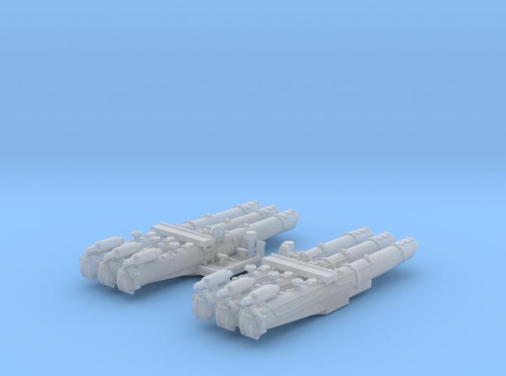 "1/500 WW2 RN 21"" Triple Torpedo Mounts (2) 3d printed 1/500 WW2 RN 21"" Triple Torpedo Mounts (2)"