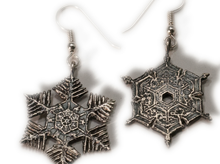 Snowflake Pendant/Earring - Style C 3d printed With an antique patina
