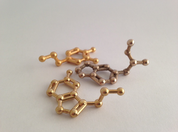 Serotonin Molecule Keychain Necklace 3d printed Serotonin molecule in raw brass. MDMA in stainless steel and dopamine in matte gold steel
