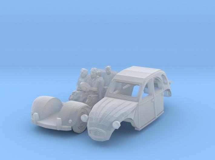 Citroën 2CV - avec la famille (N 1:160) 3d printed