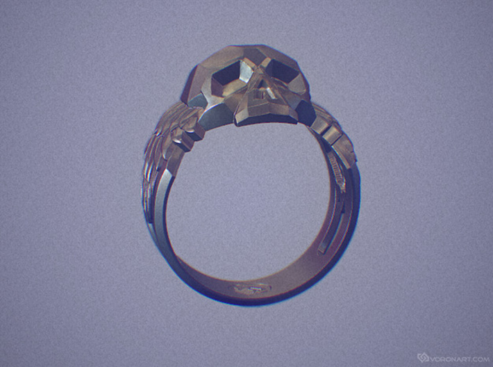 Winged Skull Ring 3d printed Digital preview. How your ring will look depends on the selected material