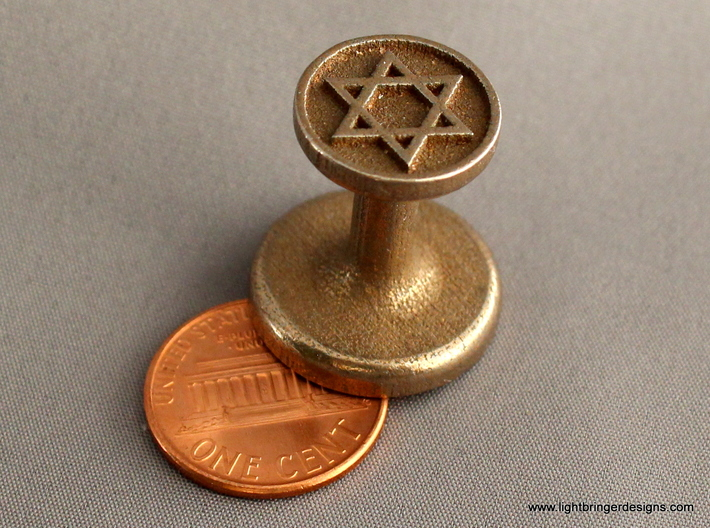 Star of David Wax Seal 3d printed Star of David wax seal with penny for scale