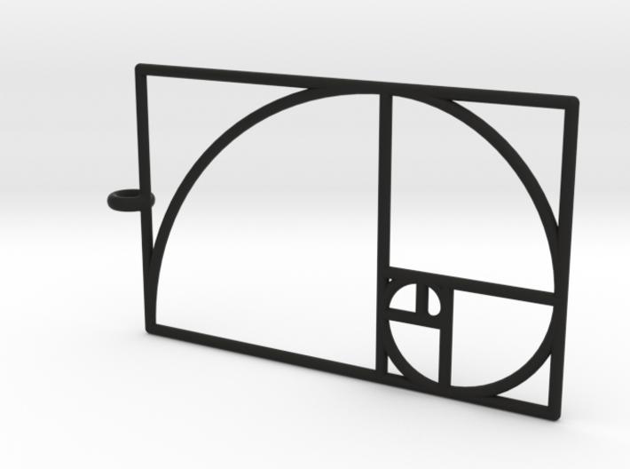 Golden Phi Spiral Rectangular Grid Pendant 3d printed
