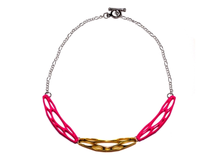 FutureForm Necklace 3d printed Gold Plated Brass + Hot Pink Strong & Flexible Polished