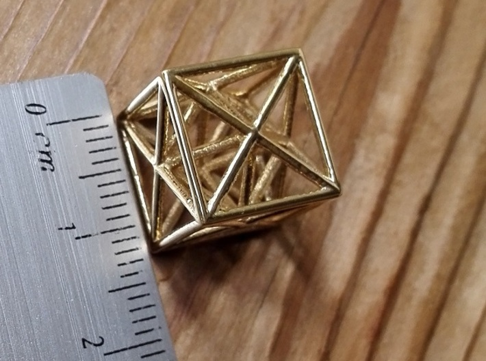 Metatron's Cube 3d printed Polished Brass