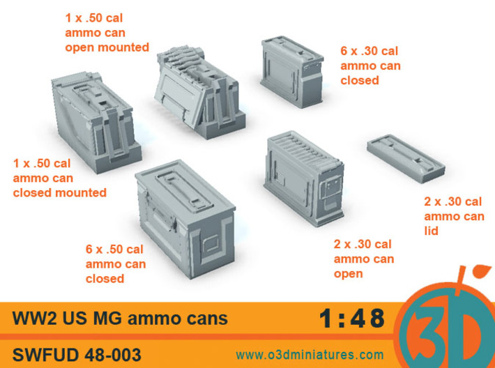 WW2 US MG Ammo Cans 1/48 scale SWFUD 48-003 3d printed
