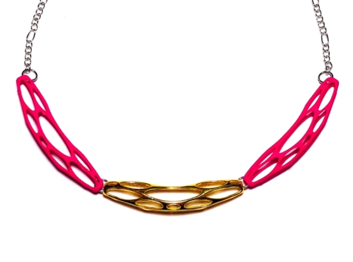 FutureForm Necklace 3d printed Polished Brass + Hot Pink Strong & Flexible Polished