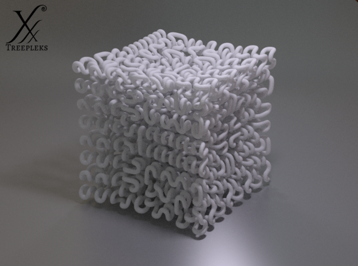 Round 3D Hilbert curve (4th order) 3d printed Cycle render, White Strong Flexible.