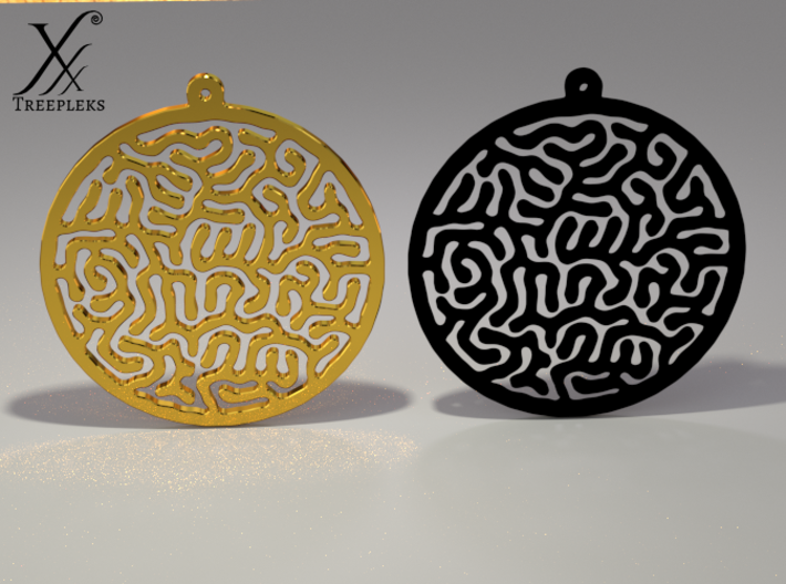 Round Reacting Earrings 3d printed In Gold plated brass or Black SF (Cycle render)