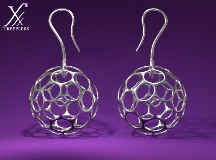 Fertilized Polyhedron Egg Earring 3d printed Cycle render.