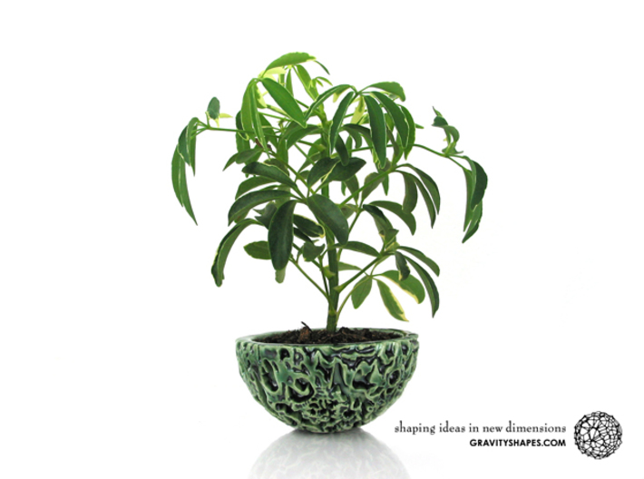 Little Galaxy Porcelain Pot (10,5 cm) 3d printed Gloss Oribe Green