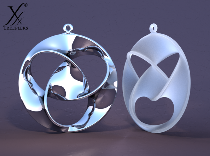 Trefoil earrings 3d printed Premium silver (front, smiling) and frosted detail (quarter view, anger) - Cycle render.
