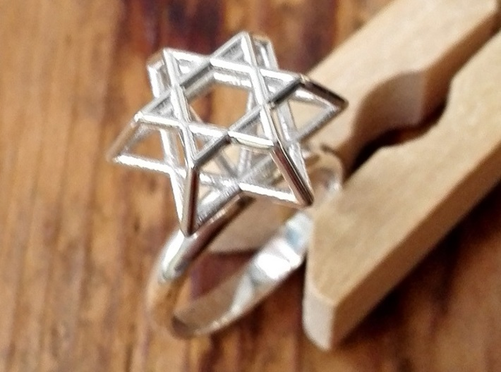 Hexagram Ring 3d printed Polished Silver