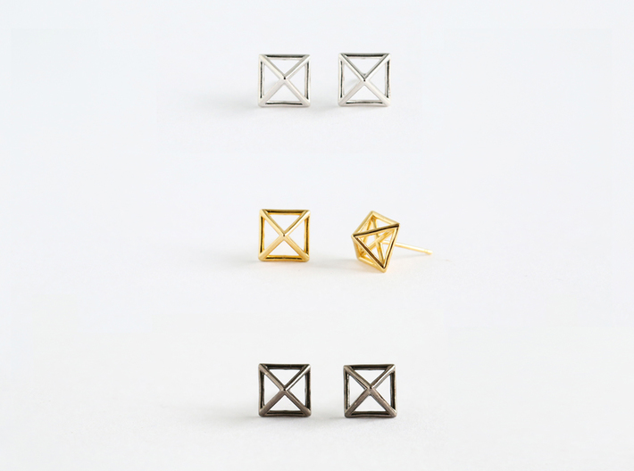 Square Stud Earrings 3d printed