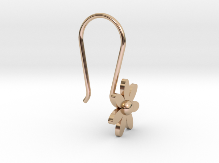 Flower Earring With Hook 3d printed
