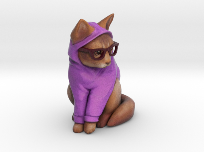 Hipster Cat 3d printed