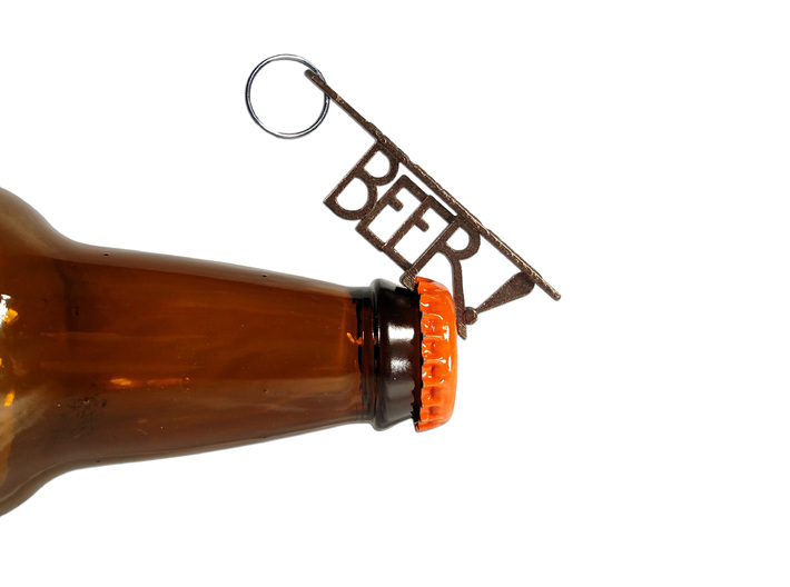"""BEER!"" Bottle Opener KeyChain - Customizable 3d printed"
