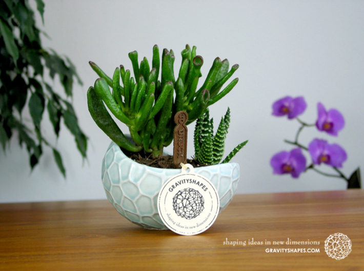 Porcelain Plant-pot in Water-Look (size XL) 3d printed Porcelain Plant-pot in Water-Look (size XL - Gloss Celadon Green)