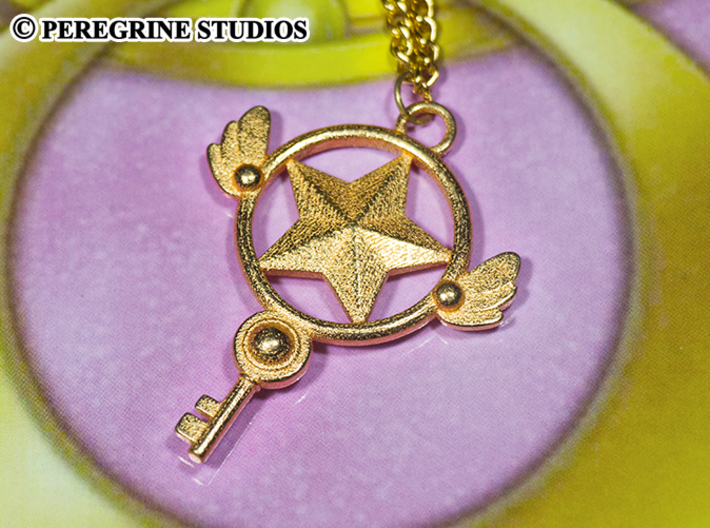 Pendant - Star Key 3d printed Polished Gold Steel