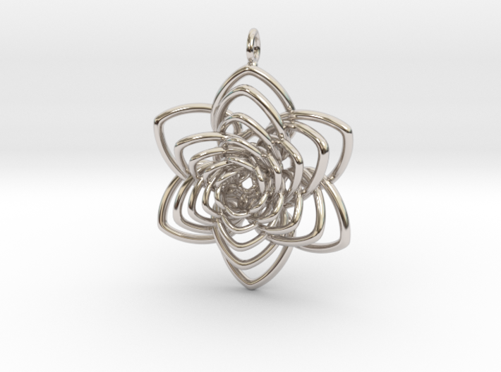 Heart Petals 6 Points Spiral - 5cm - wLoopet 3d printed