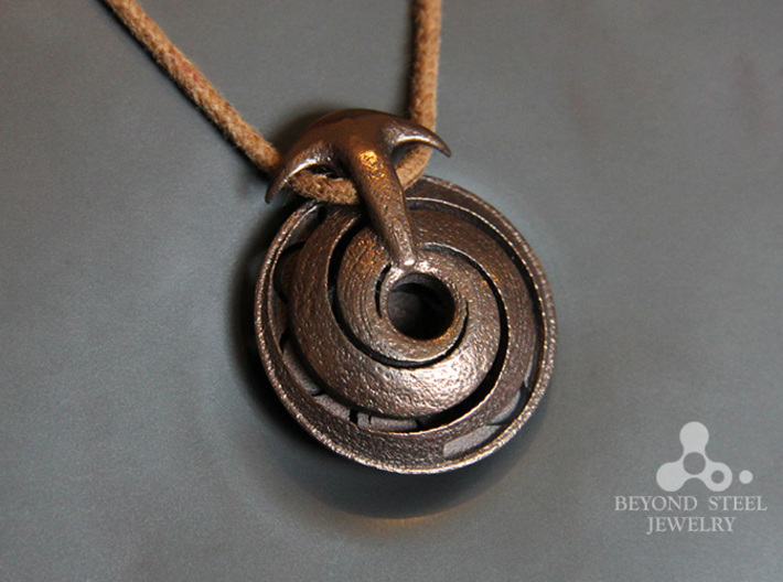Handpan Instrument Pendant v3 3d printed Polished Bronze Steel Finish