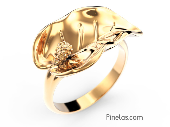 Lily ring 3d printed Lily ring render in gold