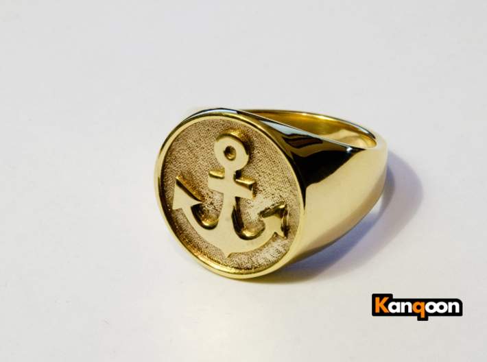Anchor Band S. - Signet Ring 3d printed printed Anchor US 10.25 in 18k Gold plated