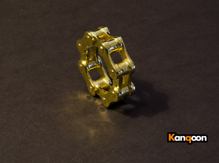 Violetta L. - Bicycle Chain Ring 3d printed 18 k Gold plated ( printed  US 9.5 )