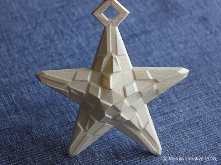 Stylised Sea Star ornament for Christmas 3d printed White Strong & Flexible Polished hand painted