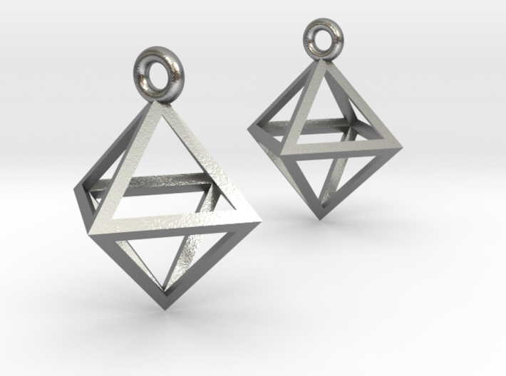 Octahedron Earrings pair 3d printed
