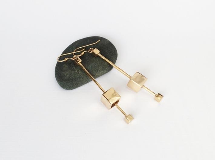 Dangling Cube Earrings - geometric jewelry 3d printed Cube Earrings in Bronze