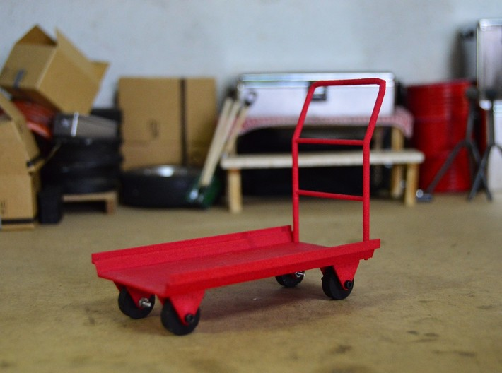 Cargo trolley 3d printed Decoration for display purpose only. Comes unassembled and unpainted. Only the parts in the render are provided. You need to cut, sand, paint and assemble.