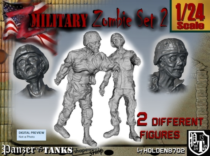 1-24 Military Zombie Set 2 3d printed