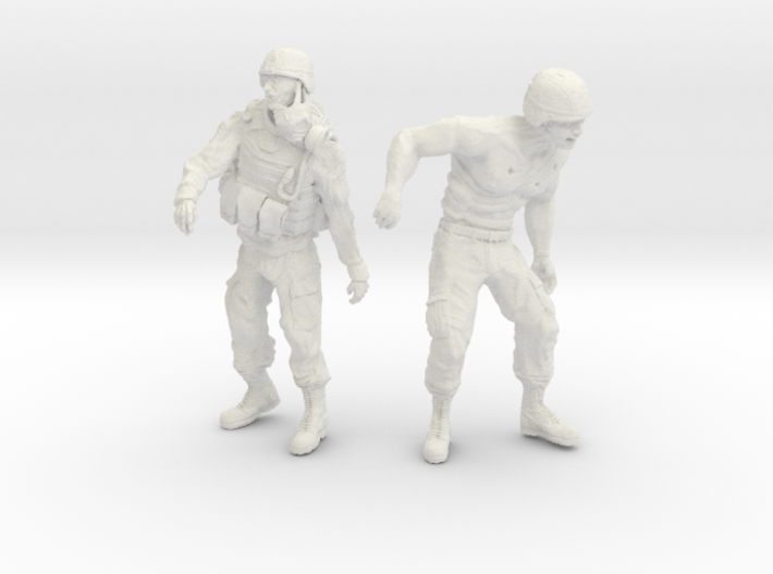 1-24 Military Zombie Set 7 3d printed