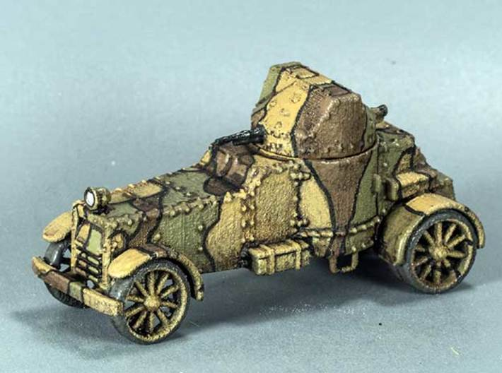 White Armoured Car (15mm) 3d printed WSF model painted in WW1 French 3-colour scheme