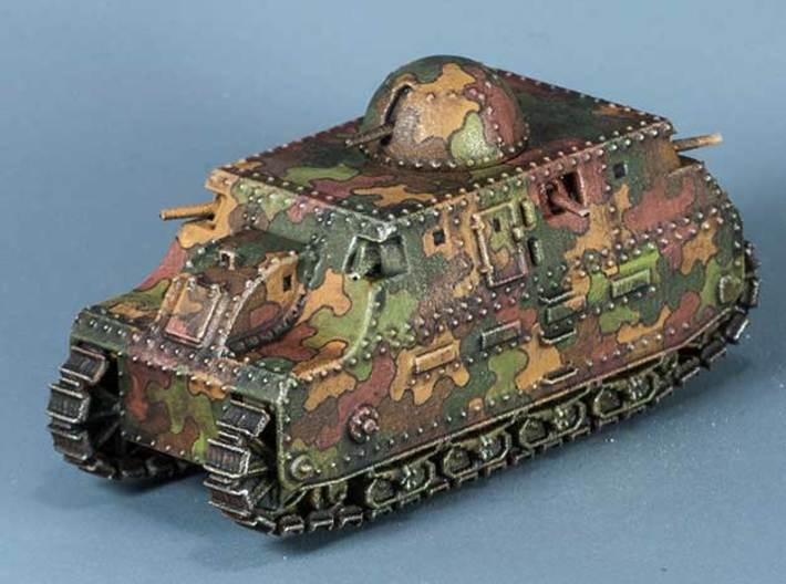 Fiat 2000 (15mm) 3d printed WSF model painted in a speculative interwar camouflage scheme