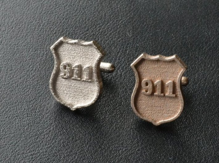 911 Police Shield Cuff-links 3d printed 3-D printed 911 cufflinks. (polished nickel steel on left - plain stainless steel on right)