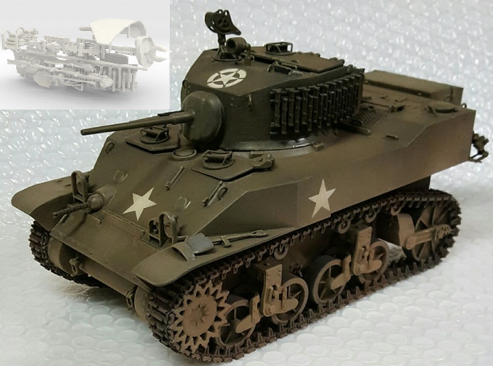 1:18 USA M5A1 Gun & Tools 3d printed