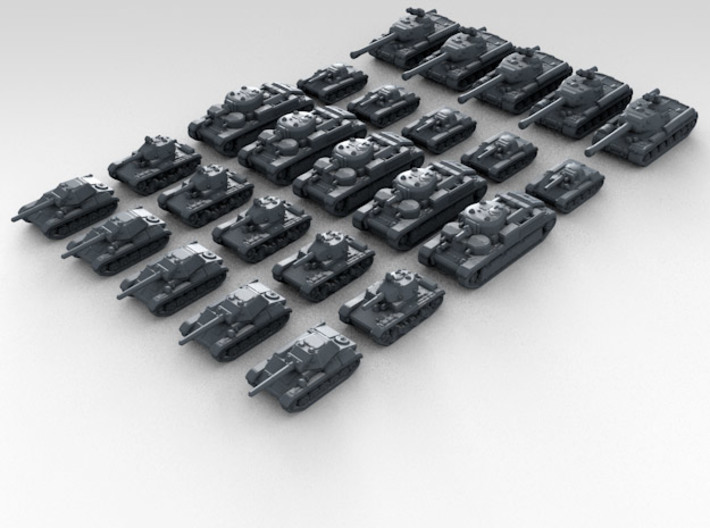 1/700 Scale Russian Tank Set X25 3d printed 3d render showing product detail