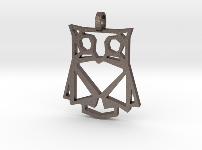 Geometric Owl Necklace 3d printed