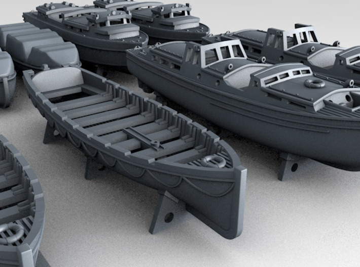 1/350 WW2 RN Boat Set 3 with Mounts 3d printed 3d render showing product detail