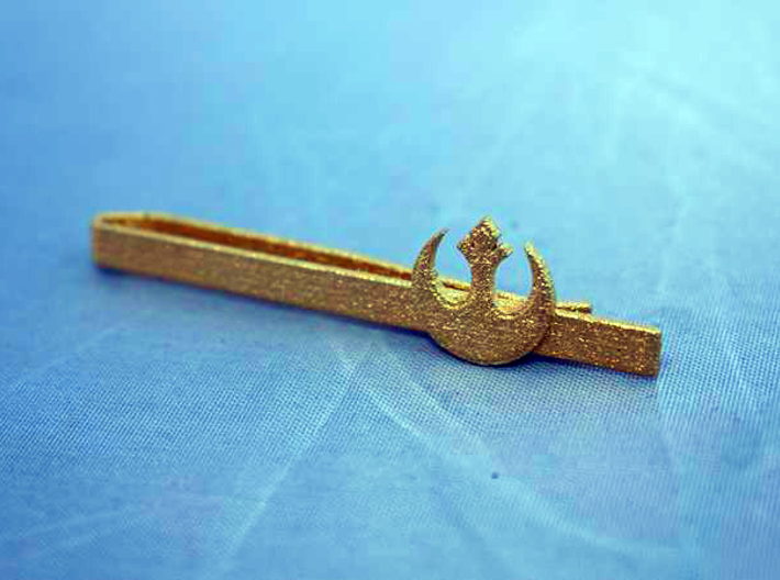 TIE CLIP REBEL ALLIANCE 3d printed Tie clip Rebel Alliance Polished Gold Steel