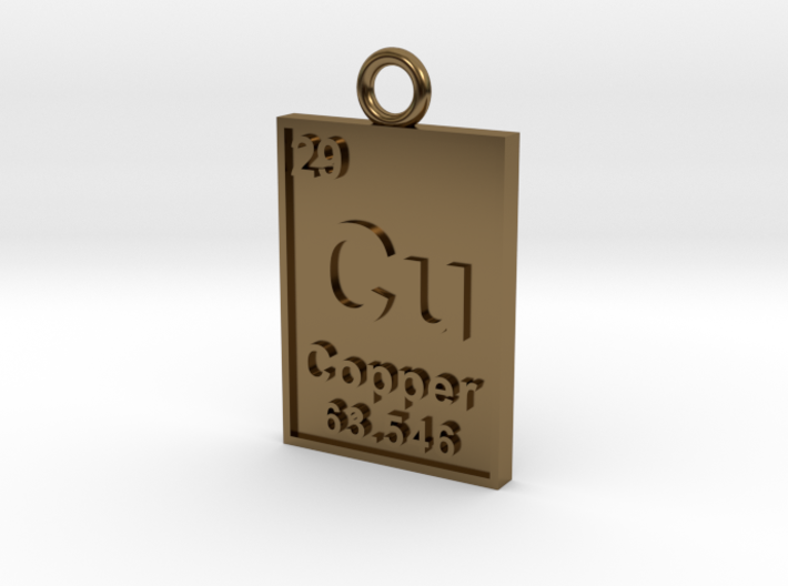 Copper Periodic Table Pendant 3d printed