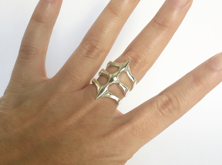 Two Spikes - Sterling Silver Ring 3d printed Polished Silver