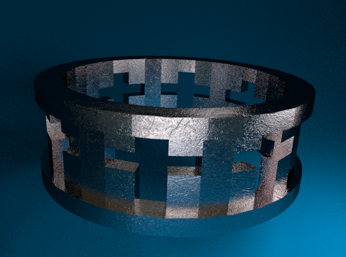 Cross Ring 3d printed Stainless Steel Render